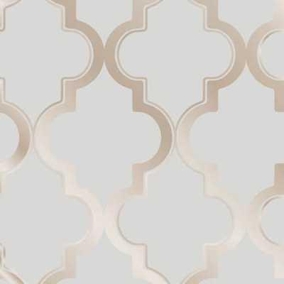 Moroccan Trellis Global Bazaar Grey Beige Removable Wallpaper, Grey - Houzz