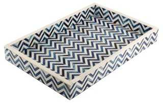 Chevron Tray, Blue - One Kings Lane