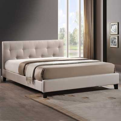 Baxton Studio Annette Light Beige Linen Modern Bed with Covered Buttons - Overstock