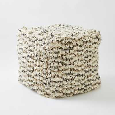 Popcorn Wool Shag Pouf - Ivory/Cover + Insert - West Elm