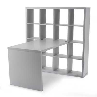 Hudson 16-Cube Shelf with Desk - Gray - Hayneedle