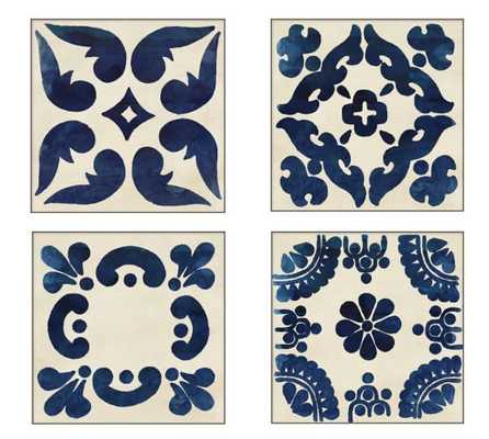 """INDIGO TILES PRINT-SET OF 4, ONE OF EACH STYLE-19"""" wide x 19"""" high x 1"""" thick- black frame - Pottery Barn"""