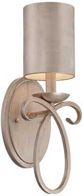 """Golden Silver Metal Shade 15 1/2"""" High Wall Sconce - Lamps Plus"""