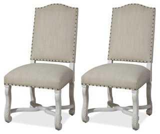 Friend's White Linen Chair, Pair - One Kings Lane
