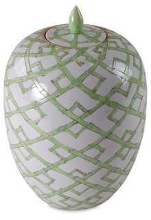 """13"""" Bamboo-Pattern Jar, Green - One Kings Lane"""