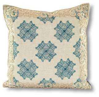 Bali 21x21 Linen Pillow, Turquoise- Down insert - One Kings Lane