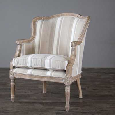 Brown Stripe Traditional French Accent Chair - Overstock