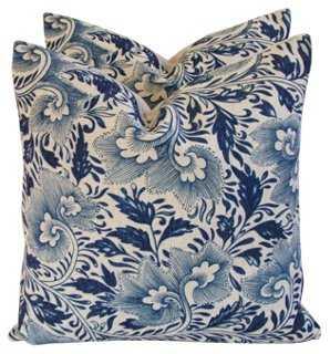 "Indigo Blue Floral Linen Pillows, Pair - 20"" L x 20"" H - feather/down insert - One Kings Lane"
