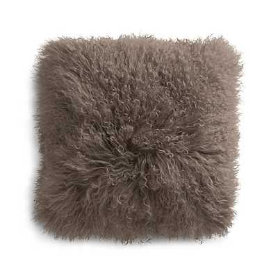 "Pelliccia Mushroom Brown 16"" Mongolian Lamb Fur Pillow with Feather-Down Insert - Crate and Barrel"