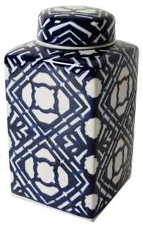 "10"" Ceramic Jar w/ Lid, Blue/White - One Kings Lane"
