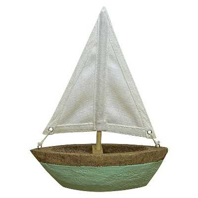 Wooden Boat with Painted Blue Stripe Canvas Medium - Target