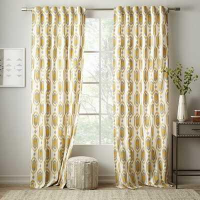 """Cotton Canvas Ikat Gem Curtain -  96"""" - West Elm"""