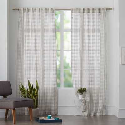 "Mid-Century Sheer Plaid Curtain - 96""L - West Elm"