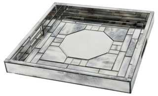"16"" Mirrored Tray, Silver - One Kings Lane"