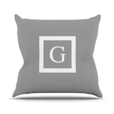 "Monogram Solid Throw Pillow, 16"" sq. grey, fill - Wayfair"