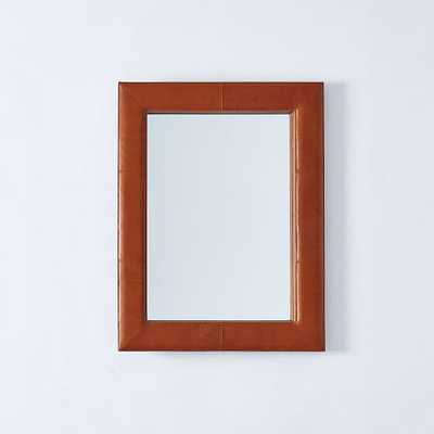 Upholstered Wall Mirror - Saddle Leather - West Elm