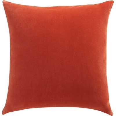 "Leisure burnt orange 23"" pillow- Down-alternative/ Feather insert - CB2"