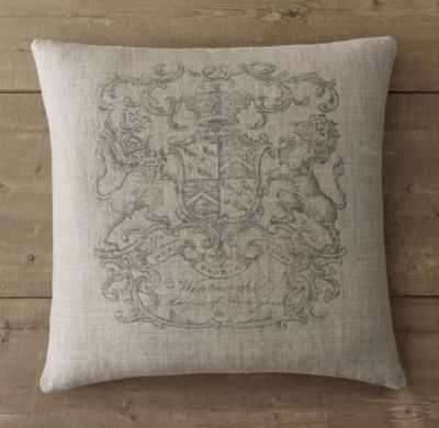 "WENTWORTH CREST VINTAGE 22"" SQ. PILLOW COVER - Insert sold separately - RH"