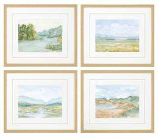 "Cotswald Watercolors, Set of 4 - 23"" x 27"" - Framed - One Kings Lane"