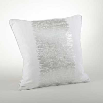 "Agatha Metallic Banded Throw Pillow - Silver - 20"" - Down/Feather Insert - AllModern"