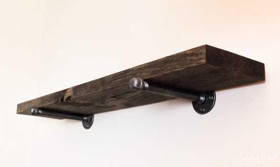 Rustic Shelves w/ Straight Pipe Brackets - Walnut - 4ft - Etsy