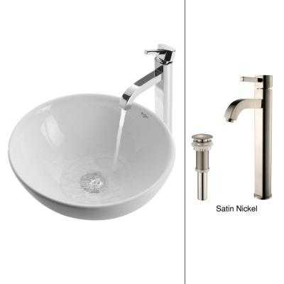 Vessel Sink in White with Ramus Faucet in Satin Nickel - Home Depot
