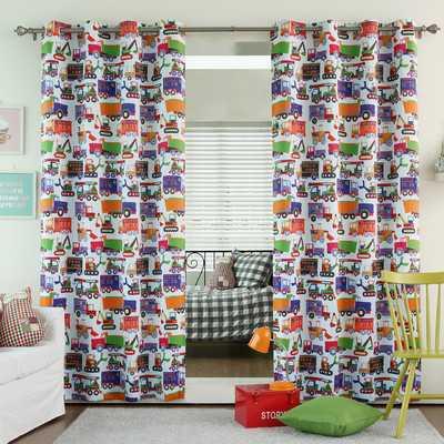 "Trucks Print Grommet Top Room Darkening Curtain Panels - 84"" - Wayfair"