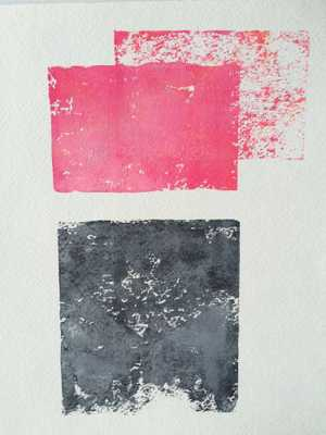 Blood Pink and Grey Abstract - unframed - Domino