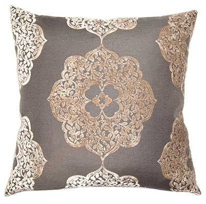 """Pewter Medallion Throw Pillow - 20""""SQ - Feather down insert included - Zinc Door"""