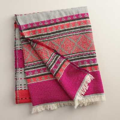 Pink Stripe Throw with Fringe - World Market/Cost Plus