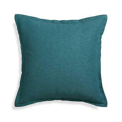 "Linden Peacock Blue 23"" Pillow with Feather-Down Insert - Crate and Barrel"