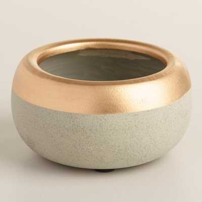 Gold Embellished Cement Tealight Holders Set of 2 - World Market/Cost Plus