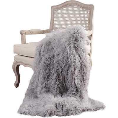 Mongolian Lamb Faux Fur Lounge Throw Blanket -Gray - Wayfair