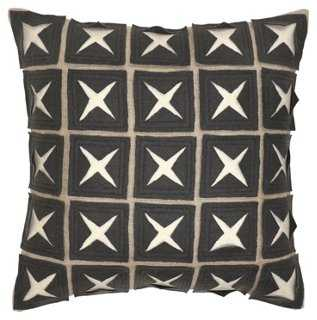 Patterned 18x18 Linen Pillow, Gray - One Kings Lane