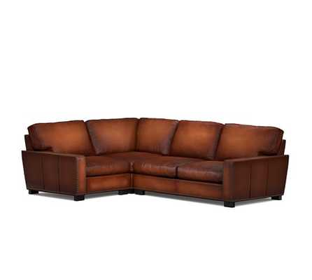 Turner Square Arm Leather 3-Piece Sectional with Corner with Nailheads - Pottery Barn