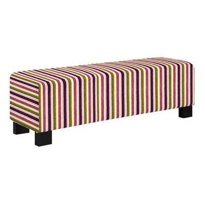 Better Living Tazia Purple and Green Stripe Bench Ottoman - Overstock