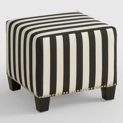 Canopy Stripe McKenzie Upholstered Ottoman - World Market/Cost Plus