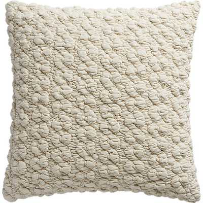 "Gravel ivory 18"" pillow with feather-down insert - CB2"