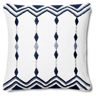 Chevron & Diamond 18x18 Pillow, Blue, feather/down insert - One Kings Lane