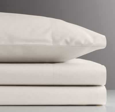 Vintage-washed percale crib fitted sheet - RH