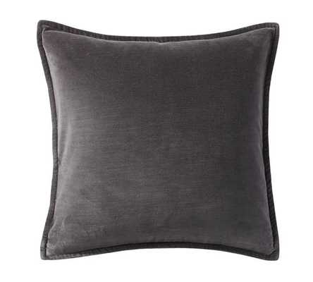 """Washed Velvet Pillow Cover, 20 x 20"""", Ebony - Insert not included - Pottery Barn"""