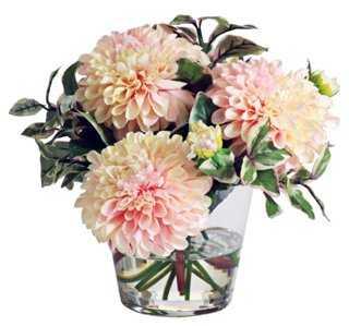 "9"" Dahlias Arrangement in Vase, Faux - One Kings Lane"