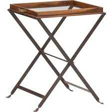 Large Wood Glass Tray Table - High Fashion Home