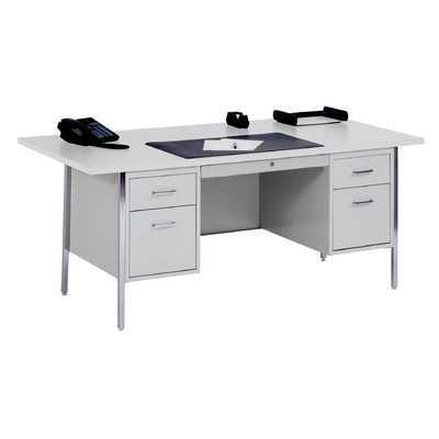 "500 Series 29.5"" Double Pedestal Desk - Gray/Gray - Wayfair"