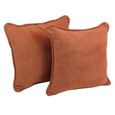 "Microsuede Throw Pillow, 18"" Sq. - Red Wine - Foam insert - Wayfair"