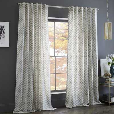 Cotton Canvas Stamped Dots Curtain - West Elm