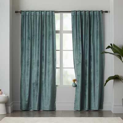 """Luster Velvet Curtain - Blue Stone - 96"""" x 48"""" - West Elm"""