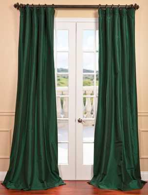 Emerald Green Faux Silk Taffeta Curtain - halfpricedrapes.com