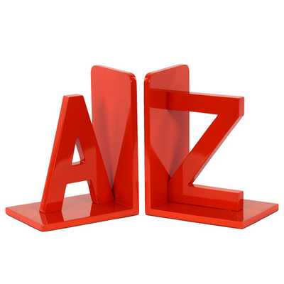 Wood AZ Bookend - Orange (Set of 2) - AllModern