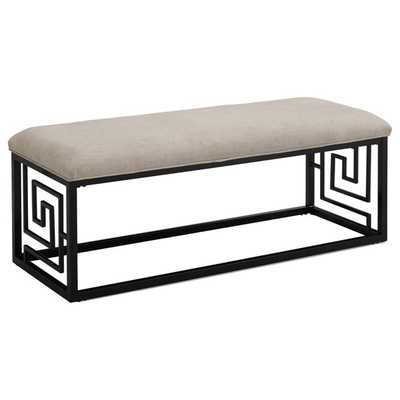 Greek Key Black Bench - Overstock